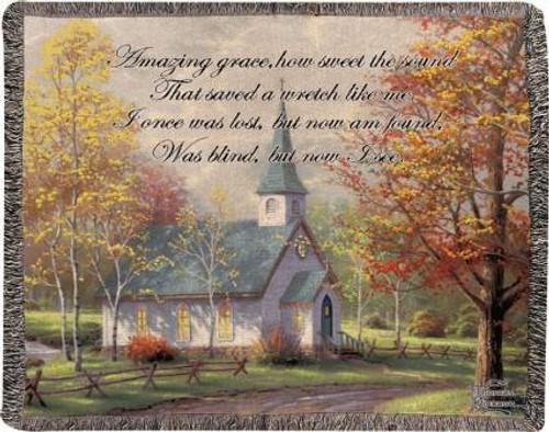 Thomas Kinkade The Aspen Chapel Tapestry Throw