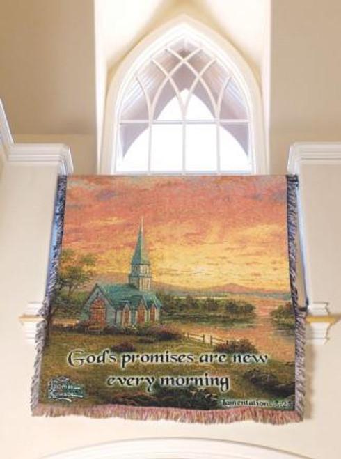 Thomas Kinkade Sunrise Chapel with Verse Tapestry Throw