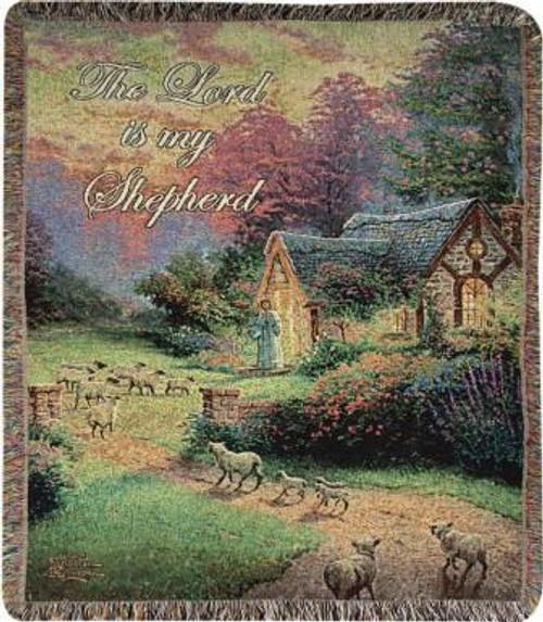 Thomas Kinkade Good Shepherd's Cottage Tapestry Throw