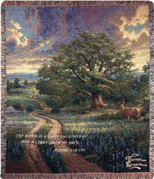 Thomas Kinkade Country Living with Verse Tapestry Throw