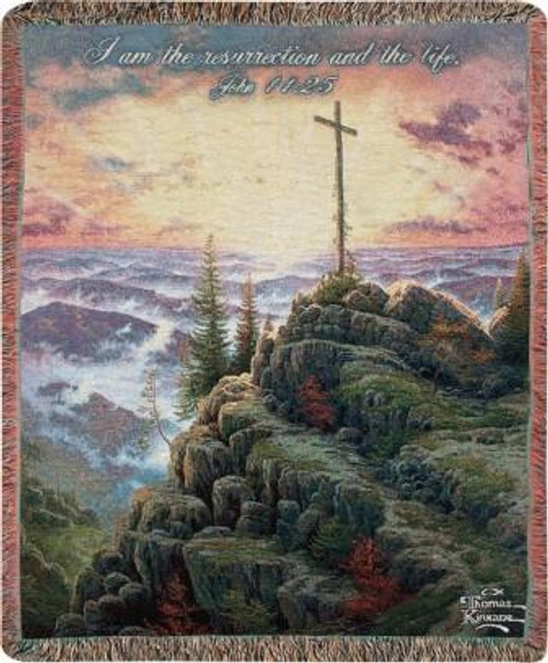 Thomas Kinkade Sunrise with Verse Tapestry Throw