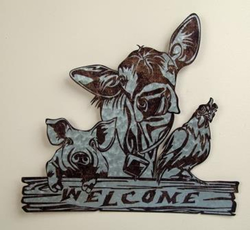 A Barnyard Welcome Wall Sign Set of 2