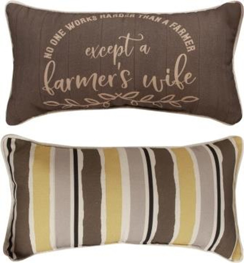 Farm Life No One Works Harder Reversible Pillow Set of 2