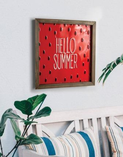 Watermelon Seed Hello Summer Metal Sign Set of 2