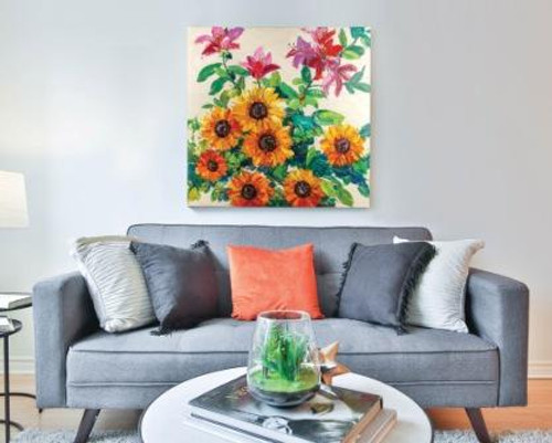 Hand Painted Flower Wrapped Canvas