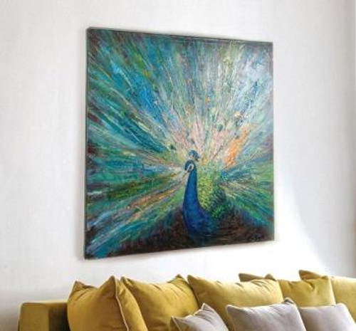 Peacock Hand Painted Canvas Art
