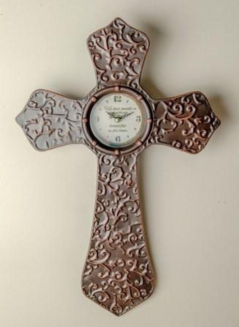 Metal Cross Clock Antique Bronze