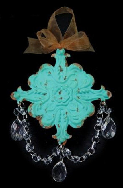 French Chateau Dangle Geo Turquoise Ornament