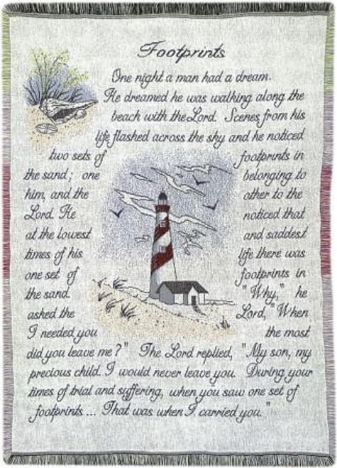 Footprints Layered Tapestry Throw