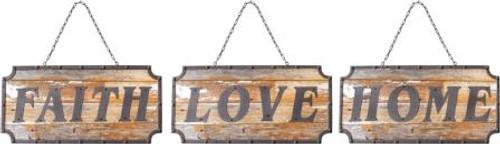 Faith Home Love Wood Sign Set of 3
