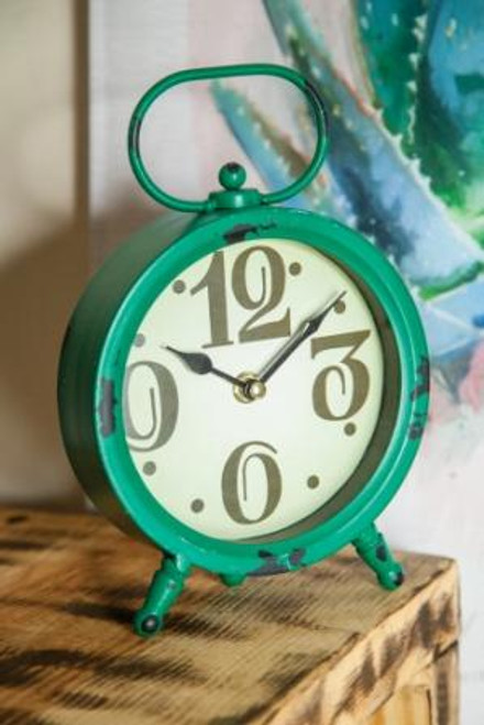 Round Table Clock Green