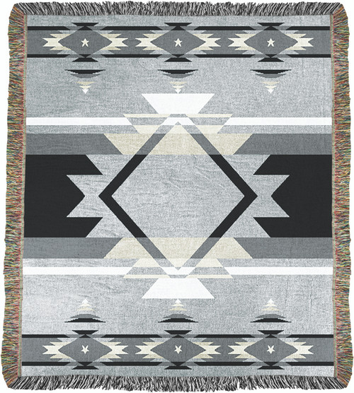 Flame Black Tapestry Throw