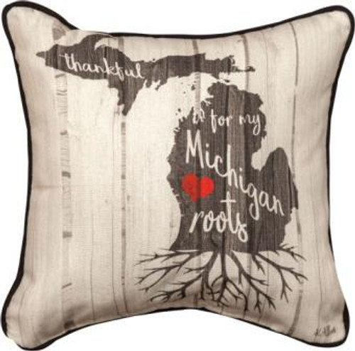 Thankful For My Roots 12 x 12 Michigan Pillow