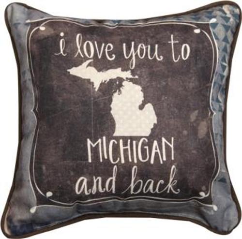 I Love You To Michigan & Back 12 x 12 Pillow
