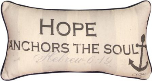 Hope Anchors The Soul 17 x 9 Pillow