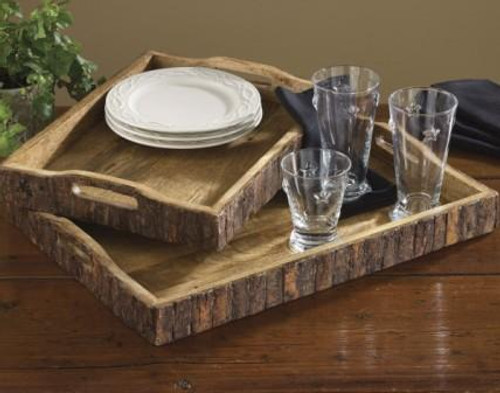 Wood With Bark Edge Trays