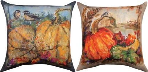 2 Chickadee On Pumpkin 18 x 18 Pillow