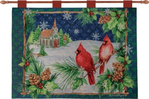 Cardinals With Church 36 x 26 Wall Hanging