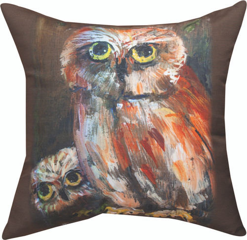 Mama Owl And Baby 18 x 18 Pillow
