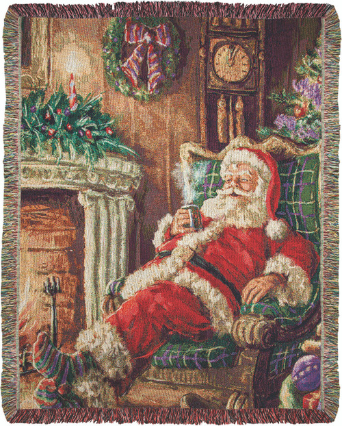 Santa Sipping Cocoa 50 x 60 Tapestry Throw