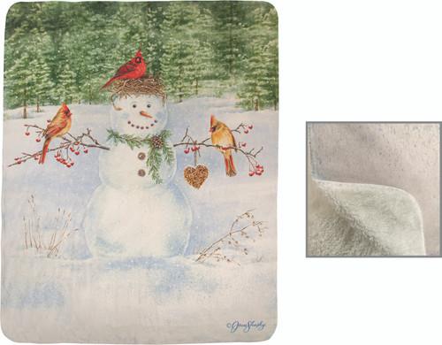 Happy Snowman 50 x 60 Sherpa Fleece Throw