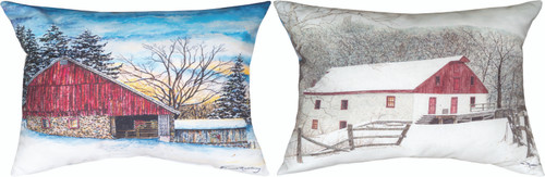 Red And White Barn 18 x 13 Pillow