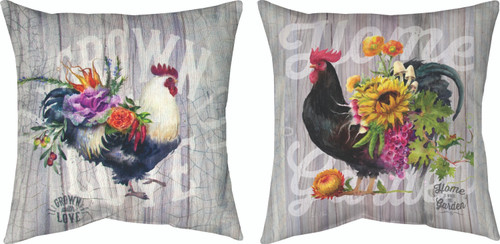 Our Rooster Garden 18 x 18 Black Pillow