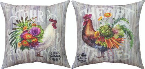Our Rooster Garden 18 x 18 Brown Pillow