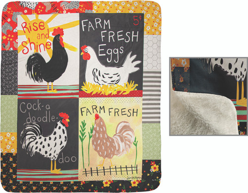 Rise And Shine Roosters 50 x 60 Fleece Throw