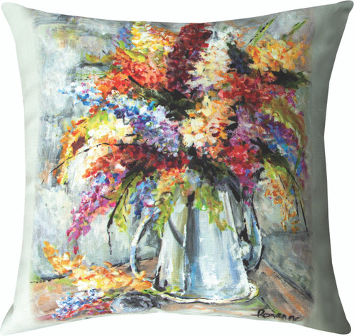 Flowers In Silver Coffee Pot 18 x 18 Pillow