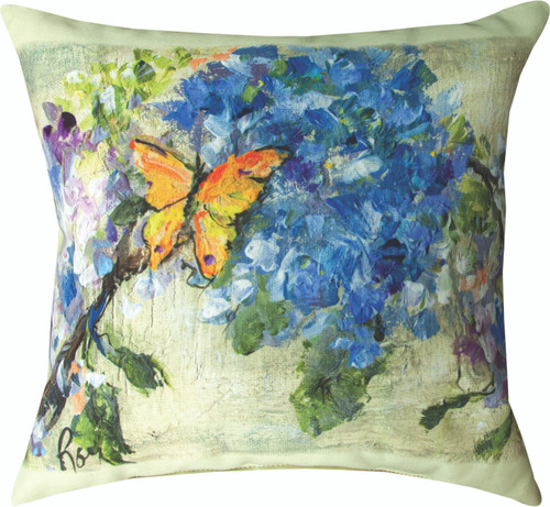 Yellow Butterfly Flowers 18 x 18 Pillow