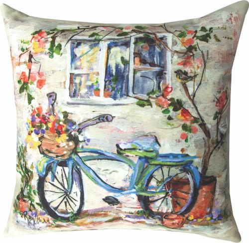 Blue Bike Under Window 18 x 18 Pillow