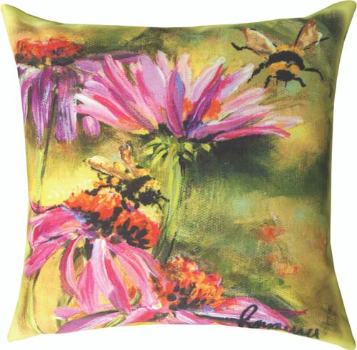 Bee On A Cornflower 8 x 18 Pillow