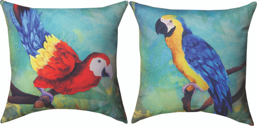 Pineapple And Parrot 18 x 18 Pillow