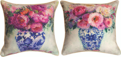 Chinoiserie Pink Roses 18 x 18 Pillow