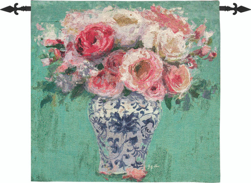 Chinoiserie Pink Roses 35 x 35 Wall Hanging