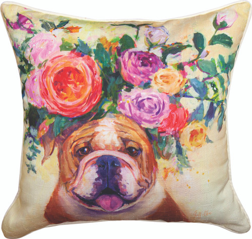 Dogs In Bloom Bull Dog 18 x 18 Pillow