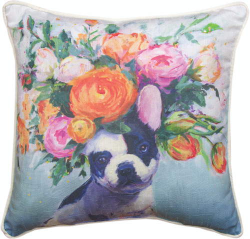 Dogs In Bloom French Bull Dog 18 x 18 Pillow