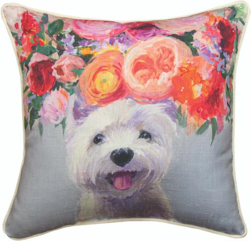 Dogs In Bloom Westie 18 x 18 Pillow