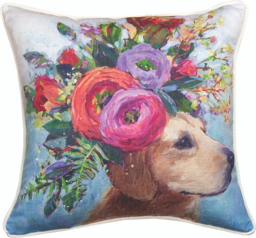 Dogs In Bloom Lab 18 x 18 Pillow