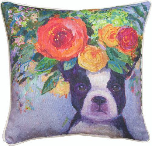 Dogs In Bloom Boston 18 x 18 Pillow
