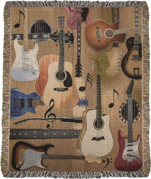 Guitar Collage 50 x 60 Tapestry Throw