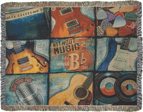 Without Music Life Would B Flat 50 x 60 Tapestry Throw