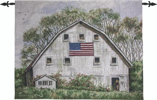 American Flag On White Barn 47 x 32 Grande