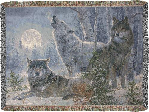 Winter Moonrise 50 x 60 Tapestry Throw