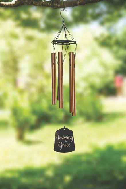 Inspirational Wind Chime Bronze Ring Amazing Grace