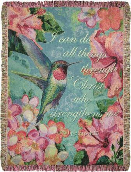 Hummingbird Hibiscus with Verse Tapestry Throw