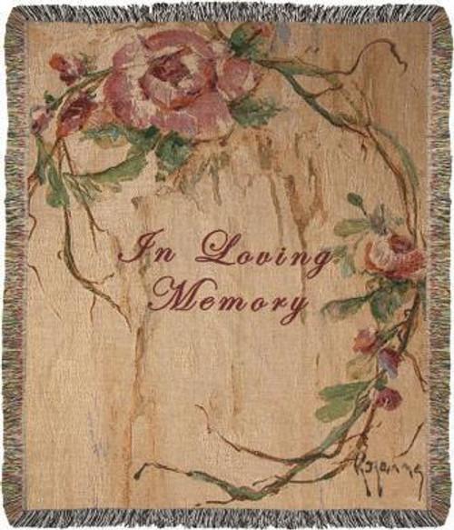 In Loving Memory Rose Tapestry Throw