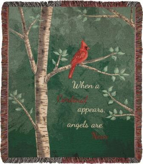 When A Cardinal Appears Tapestry Throw