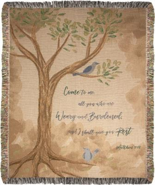 Come To Me All Who Are Weary Tapestry Throw